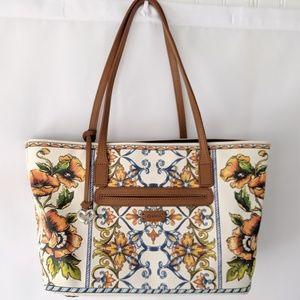 Handbags - BRIGHTON Floral Paisley Canvas Tote Leather handle